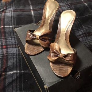 Brown slip on stilettos